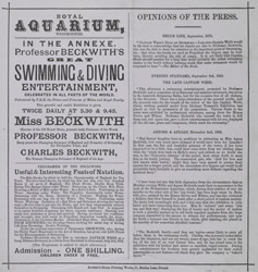 Advert for the Royal Aquarium 983